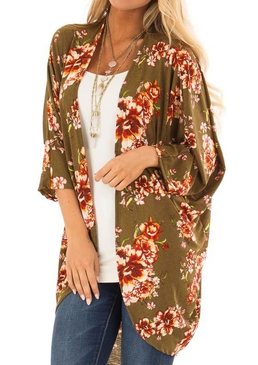Floral Printed Three Quarter Sleeve Cardigan