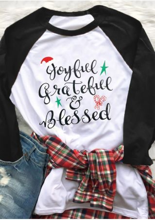 Joyful Grateful Blessed Baseball T-Shirt