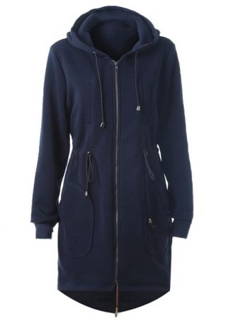Solid Asymmetric Drawstring Hooded Coat
