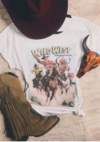 Wild West Character Horse O-Neck T-Shirt
