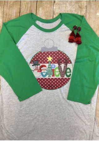 Believe Christmas Tree Baseball T-Shirt