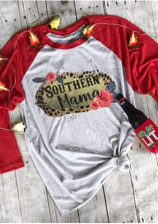Southern Mama Leopard Printed Baseball T-Shirt