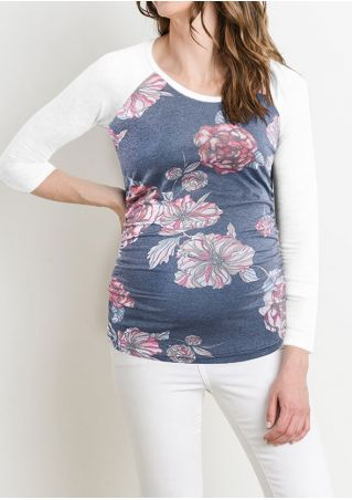 Floral Maternity Col Rond Baseball T-Shirt