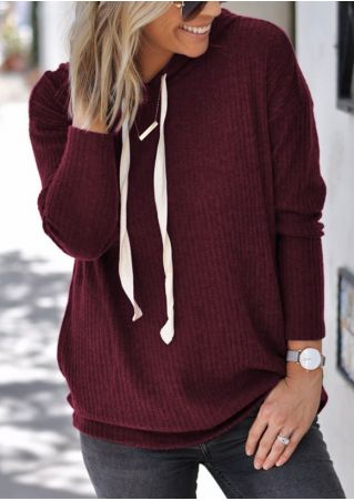 Solid Drawstring Knitted Hoodie