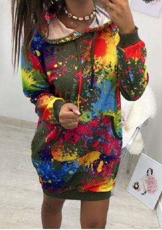 Multicolor Printed Pocket Hoodie Dress