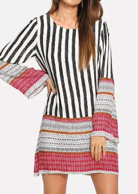 Striped Splicing Long Sleeve Mini Dress