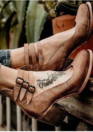 Solid Zipper Buckle Vintage Heels