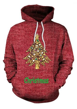 3D Christmas Tree Drawstring Hoodie