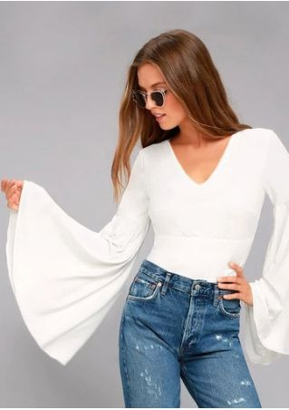 Solid Tie Flare Sleeve V-Neck Blouse