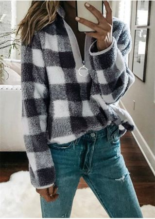 Plaid Zipper Long Sleeve Sweatshirt