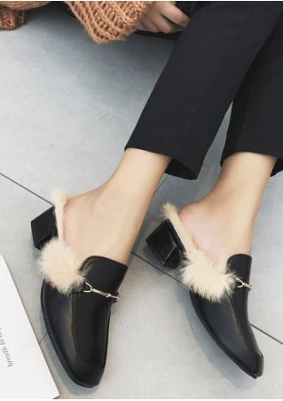 Faux Fur Slippers Mules Shoes