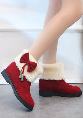Bowknot Faux Fur Round Toe Boots