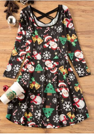 Christmas Tree Criss-Cross Casual Dress