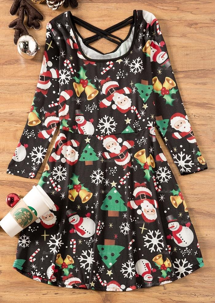 Christmas Tree Criss-Cross Casual Dress