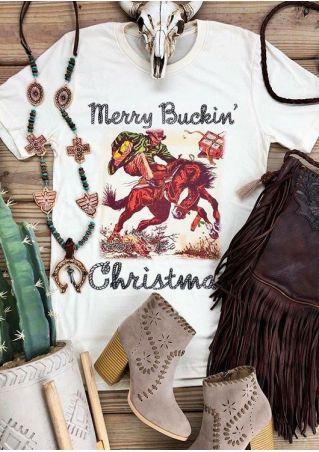 b19415d95 Merry Buckin' Christmas Horse T-Shirt - Bellelily