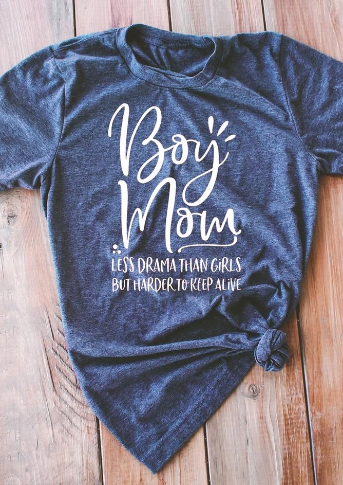 Boy Mom Less Drama Than Girls T Shirt Bellelily
