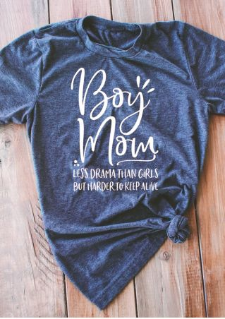 191181f3 Boy Mom Less Drama Than Girls T-Shirt - Bellelily