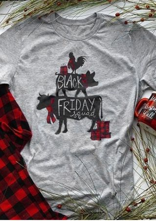 Black Friday Squad Plaid T-Shirt