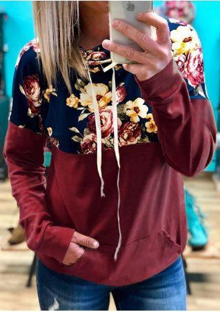 Floral Splicing Drawstring Pocket Sweatshirt