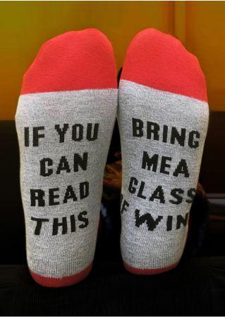 Letter Printed Color Block Socks