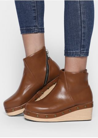 Solid Zipper Ankle Wedge Boots
