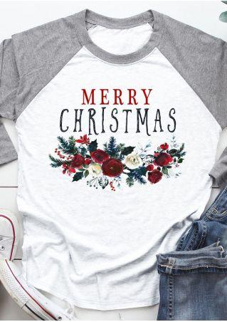 Merry Christmas Floral Baseball T-Shirt