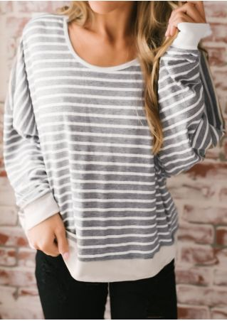 Striped Backless Long Sleeve Blouse