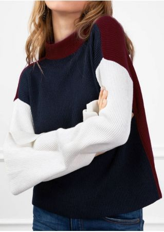 Color Block Drop-Shoulder Sweater