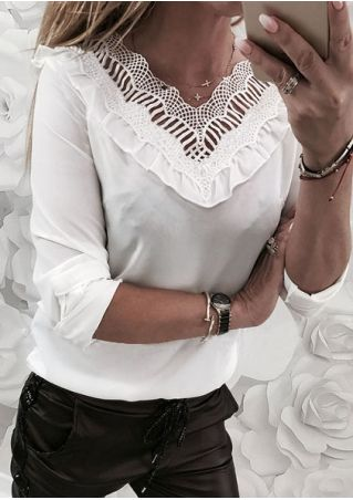 Solid Lace Splicing Ruffled Blouse