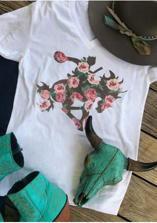 Floral Ranch Rodeo V-Neck T-Shirt