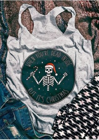 It's Christmas Hat Skeleton Tank