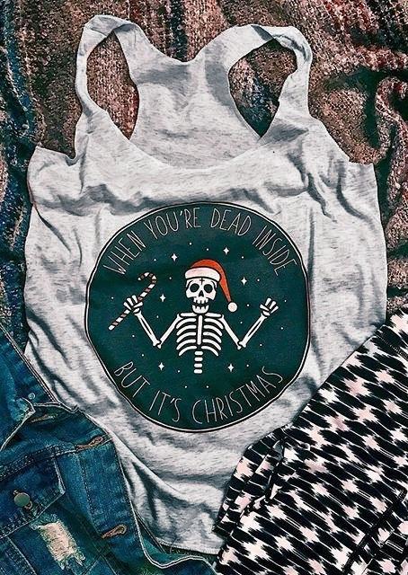 It's Christmas Hat Skeleton Tank