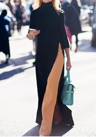 Solid Slit O-Neck Maxi Dress
