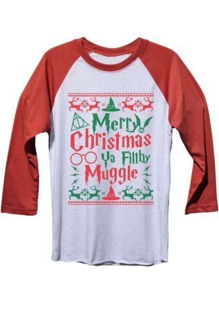 Merry Christmas Harry Potter Baseball T-Shirt
