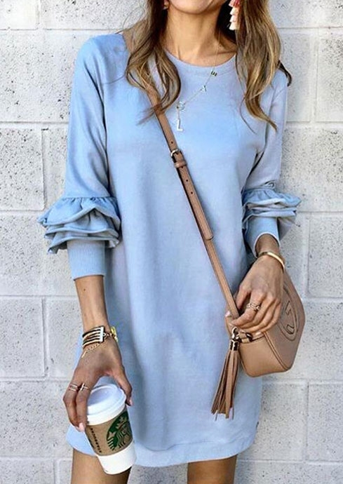 Solid Ruffled O-Neck Mini Dress