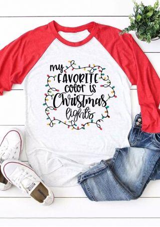 Favorite Color Is Christmas Lights Baseball T-Shirt
