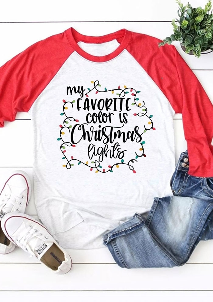 Favorite Color Is Christmas Lights Baseball T Shirt