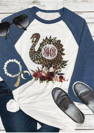Leopard Printed Turkey Floral Baseball T-Shirt