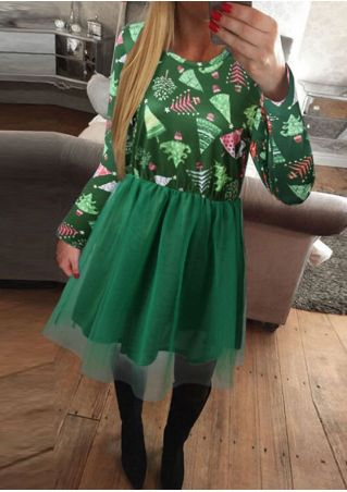 Christmas Tree Splicing Casual Dress