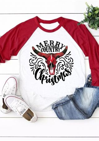 Merry Country Christmas Baseball T-Shirt