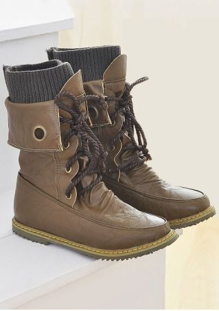 Vintage Splicing Lace Up Flat Boots