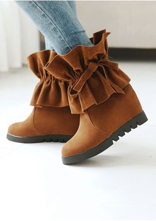 Solid Nubuck Flouncing Ankle Wedge Boots