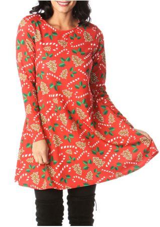 Christmas Tree Candy Cane Mini Dress
