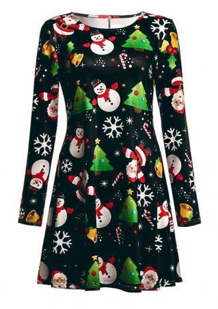 Christmas Tree Snowman Mini Dress