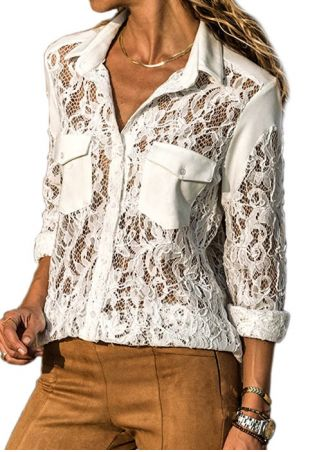 Solid Lace Splicing Button Blouse