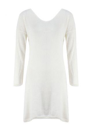 Solid Backless Drop-Shoulder Mini Dress