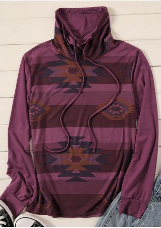 Geometric Drawstring Cowl Neck Sweatshirt