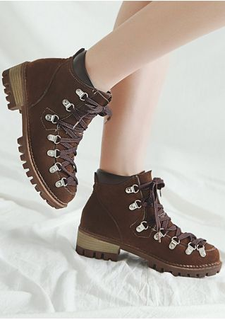 Lace Up Splicing Hiker Boots