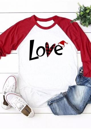 Love Plaid Santa Hat Baseball T-Shirt