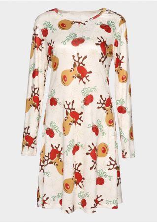 Reindeer Long Sleeve Casual Dress